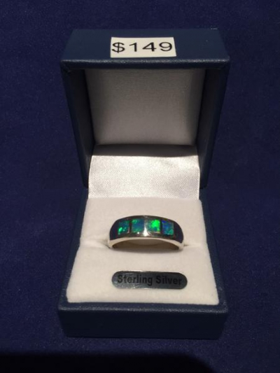 SOLID SILVER INLAID OPAL RING