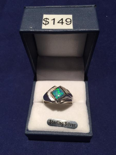SOLID SILVER OPAL INLAID RING