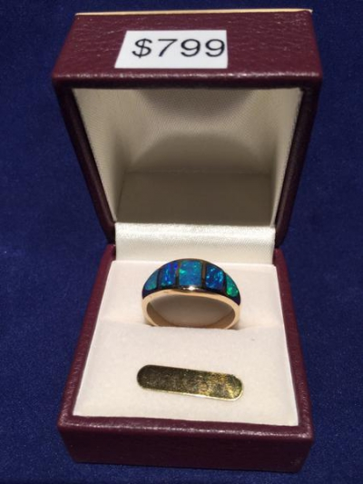 GOLD 9CT SOLID OPAL INLAID