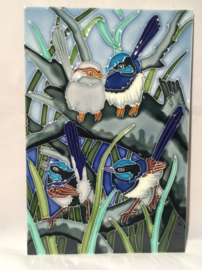BLUE WREN NO1 CERAMIC 300mm X 200mm WALL HANGING