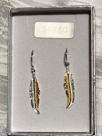 YELLOW GOLD SILVER FEATHER EARRINGS
