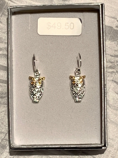 YELLOW GOLD SILVER OWL EARRINGS