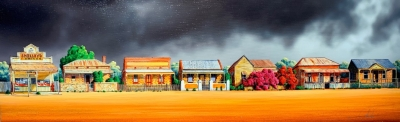 STORMY COTTAGE ROW    CANVAS LITHOGRAPH ON STRETCHER FRAME  910mm X 300mm
