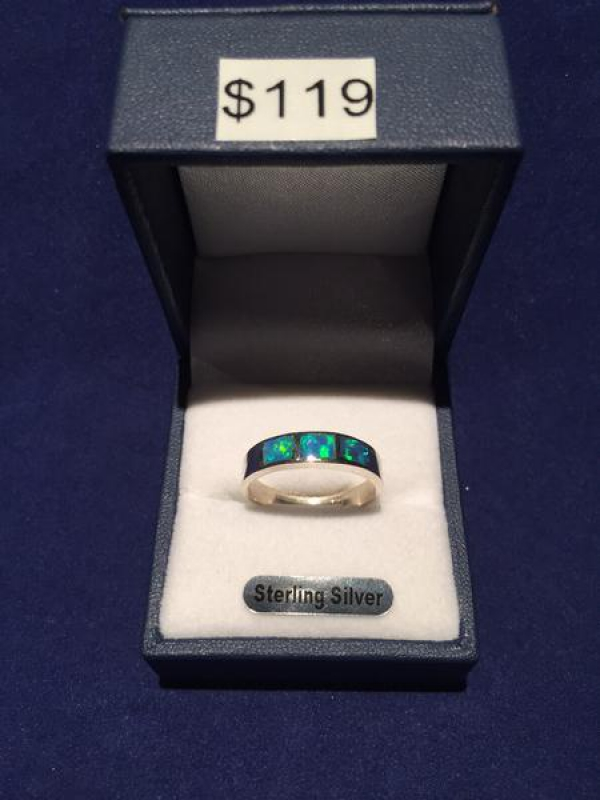 SOLID INLAID OPAL RING 2