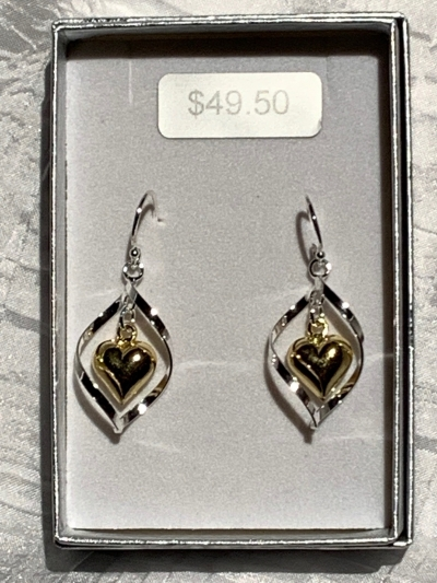 YELLOW GOLD SILVER TWIST HEART EARRINGS
