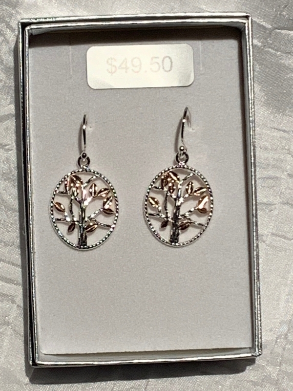 ROSE GOLD SILVER TREE OF LIFE EARRINGS 3