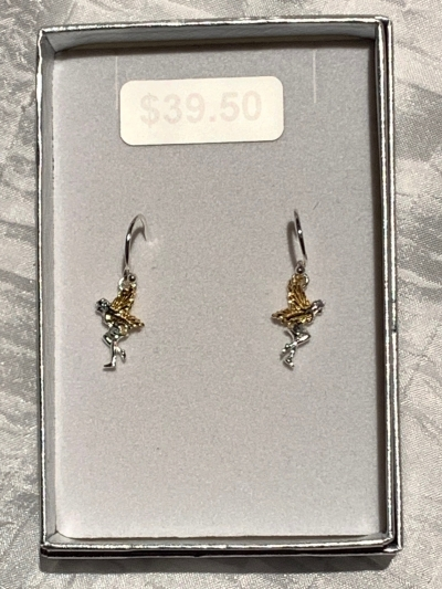 YELLOW GOLD SILVER FAIRY EARRINGS
