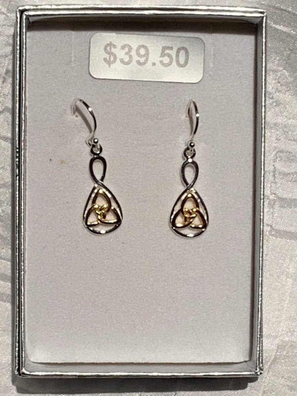 YELLOW GOLD SILVER CELTIC EARRINGS 2
