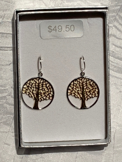 YELLOW GOLD SILVER TREE OF LIFE EARRINGS 2