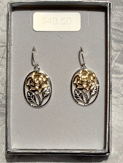 YELLOW GOLD SILVER ROSE EARRINGS