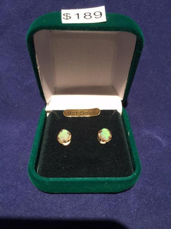 GOLD 9CT SOLID OPAL INLAID EARRINGS